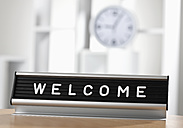 Welcome sign in office, close up - WBF000455