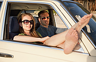 Croatia, Zadar, Young couple resting in car - HSIF000073