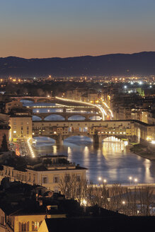 Italy, Tuscany, Florence, View of Bridge on Arno River at dusk - RUEF000556