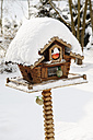 Germany, Birdhouse covered by snow - CSF013898