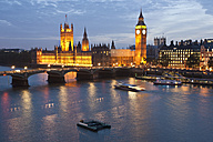 Great Britain, England, London, View of big ben and westminster bridge with thames river - WDF000828