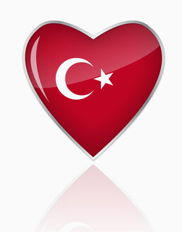 Turkish flag in heart shape on white background - TSF000106