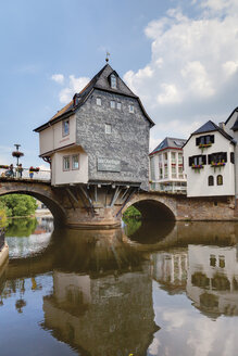 Europe, Germany, Rhine-Palatinate, View of historical houses with old nahe bridge - CSF014589