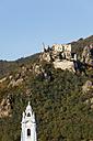 Austria, Lower Austria, Waldviertel, Wachau, Danube River, Collegiate church tower and Duernstein castle ruin - SIEF000105