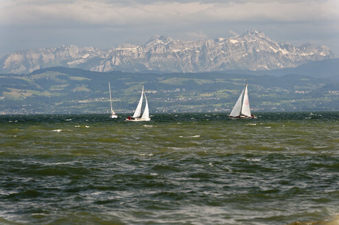 Germany, Friedrichshafen, View of sailing boats on lake constance - SH000551