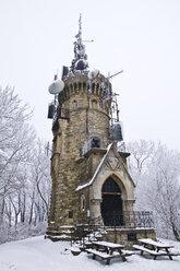 Austria, Vienna, Wienerwald, View of habsburgwarte tower at hermannskogel - MBEF000069