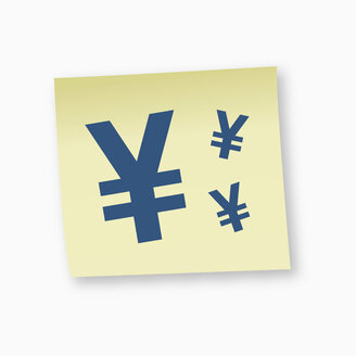 Yen sign on adhesive note, close-up - TSF000178