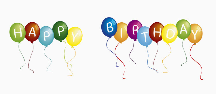 Text happy birthday on colorful balloons against white background - TSF000137
