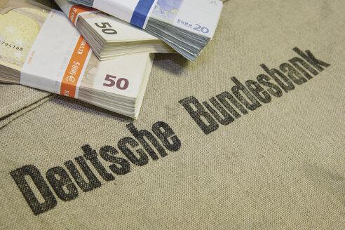 Close up of euro note bundles on Deutsche Bundesbank bag - WBF001005