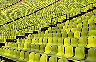 Germany, Bavaria, Munich, View of green seats in olympic stadium - PS000435