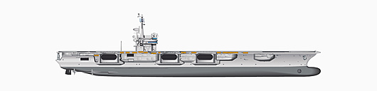 Illustration of aircraft carrier against white background, close up - WBF001109