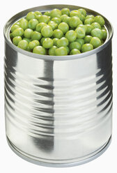 Peas in can against white background, close up - WBF001189