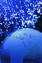 Blurred blue fiber light with blue glass globe - TSF000208