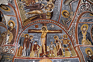 Turkey, Cappadocia, Goreme, View of ceiling with fresco painting of church - PS000525