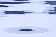Germany, Upper Bavaria, Irschenhausen, Snow and ice on frozen pond - TCF001450