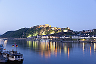 Koblenz, View of  fortress Ehrenbreitstein in evening light with river rhine - MSF002452