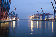 Germany, Hamburg, Burchardkai, View of container ship at harbour - MSF002462