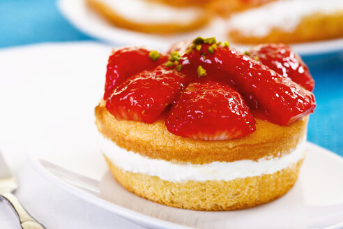 Close up of small strawberry cake with fresh strawberries - TSF000239