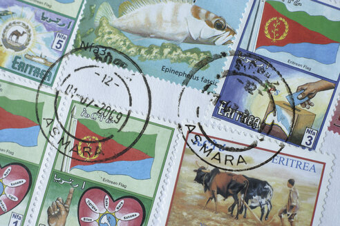 Close up of devaluated stamps - TCF001504
