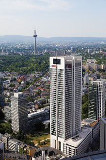 Europe, Germany, Hesse, Frankfurt, View of Opernturm UBS Bank building in financial district - CS014910