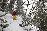 Austria, Tyrol, Hochfilzen, Mature man doing freestyle skiing - FFF001222