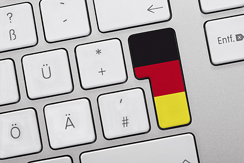 Close up of computer key with german flag - TSF000265