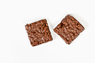 chocolate coated puffed rice on white background - TSF000286