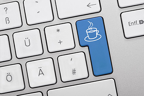 Illustration of keyboard having blue key with coffee cup, close up - TSF000298