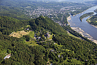 Europe, Germany, North Rhine-Westphalia, Siebengebirge, Aerial view of Castle Drachenburg, Castle Drachenfels and Dragon's Rock - CS015067