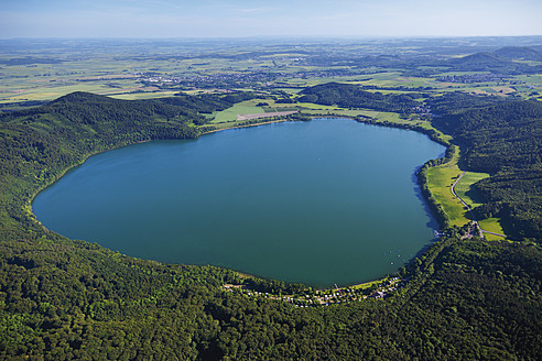 Europe, Germany, Rhineland-Palatinate, Eifel, Laacher See, Aerial view of volcanic lake - CS015081