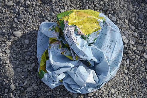 Europe, Germany, Bavaria, Ammer Lake, Close up of crushed earth beach ball - TCF001533
