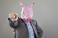 Close up of businessman with pigs head pointing in office against grey background - MAEF003474