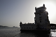 Europe, Portugal, Lisbon, View of Belem Tower at dusk - FOF003447