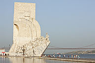 Europe, Portugal, Lisbon, Belem, Padrao dos Descobrimentos, View of monumental sculpture of Portuguese seafaring near river Tagus - FO003450
