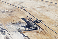 Europe, Germany, North Rhine-Westphalia, Garzweiler, Aerial view of lignite mining with spreader - CS015324