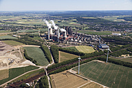 Europe, Germany, North Rhine Westfalia, Weisweiler, Aerial view of lignite surface mining with power plan - CS015343