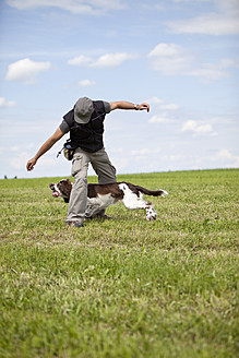 Germany, Lower Bavaria, Man training English Springer Spaniel in grass field - MAEF003538