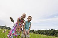 Germany, North Rhine-Westphalia, Hennef, Boy and girl in meadow looking at flowers - KJF000133