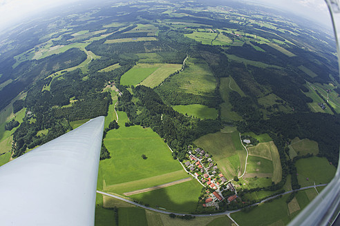 Germany, Bavaria, Bad Toelz, View of village and landscape from glider - FFF001211