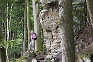 Germany, Rhineland-Palatinate, Eifel Region, South Eifel Nature Park, View of woman hiker standing near bunter rock formations at beech tree forest - GWF001528