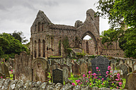 United Kingdom, Northern Ireland, County Down, View of ruined Grey Abbey with grave yard - SIE001742