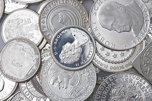 Variety of silver coins, close up - HKF000384