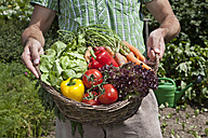 Germany, Bavaria, Altenthann, Man with basket full of vegetables - RBF000710