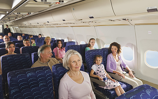 Germany, Munich, Bavaria, People in economy class airliner - WESTF017247