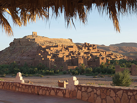 Morocco, Ait Benhaddou, View of historic film set at sunrise - BSCF000065
