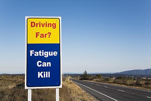 New Zealand, North Island, Warning sign at road - GW001611