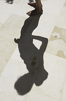 Greece, Ionian Islands, Ithaca, Shadow of mature man - MUF001144