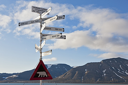 Europe, Norway, Spitsbergen, Svalbard, Longyearbyen, Directional sign with caution polar bear sign - FOF003701