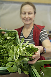 Germany, Upper Bavaria, Wolfratshausen, Mature woman buying vegetables from market - TCF002105