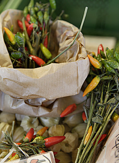 Germany, Upper Bavaria, Wolfratshausen, Chilli peppers in market, close up - TCF002107
